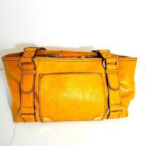 Tommy Hilfiger two straps mustard satchel handbag